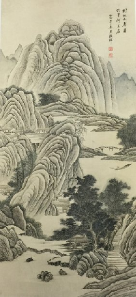 Chinese Water Color Ink Painting With Landscaping