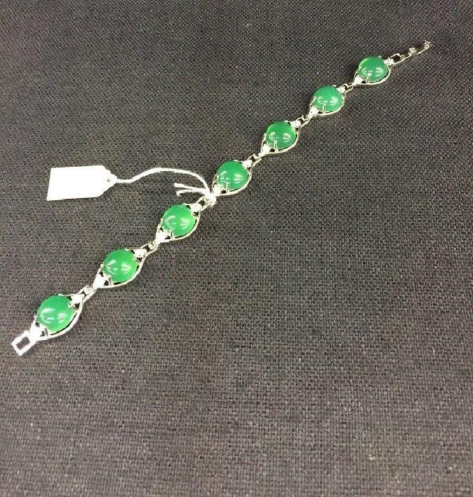 Beautiful Green Jade Inlaid Beads Bracelet