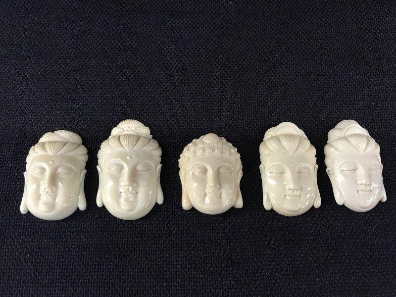 A Nicely Carved Five Ivory Buddha Heads