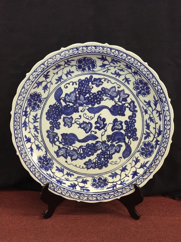 A Nicely Chinese Blue And White Porcelain Charger