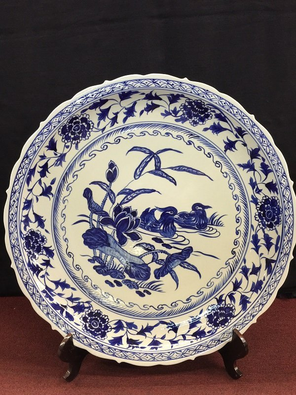 A Large Chinese Blue And White PorcelainCharger