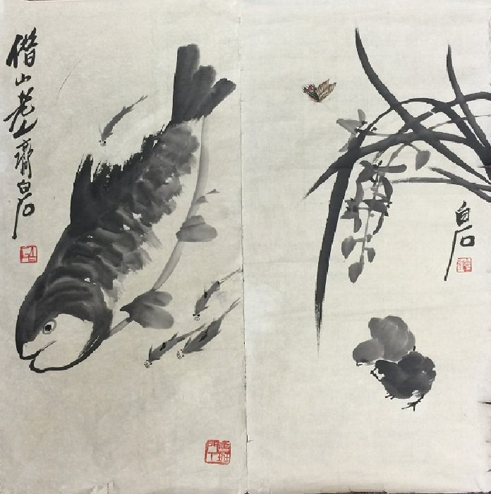 Finely Chinese Ink Painting Couplet On Paper