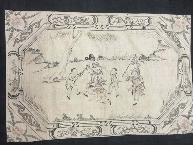 19th Linen Door Curtain With Ink Painting