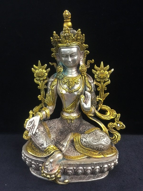 Antique Bronze Tibetan Buddha With Silver Color