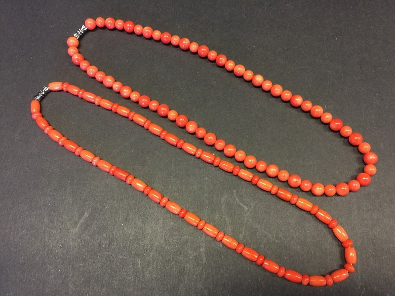 Beautiful Pair Of Red Coral Necklace