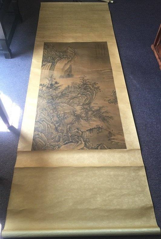 Antique Scroll Chinese Ink Painting On Silk