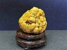 A Nicely Carved Shoushan Stone  Statue With Base