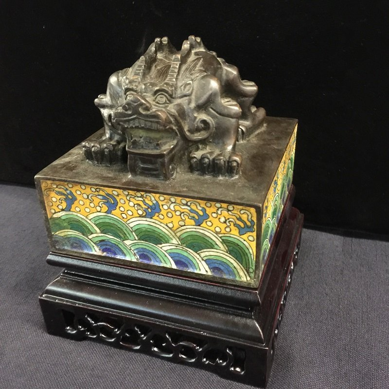 A Finely Carved Antique Cloisonne Imperial Seal