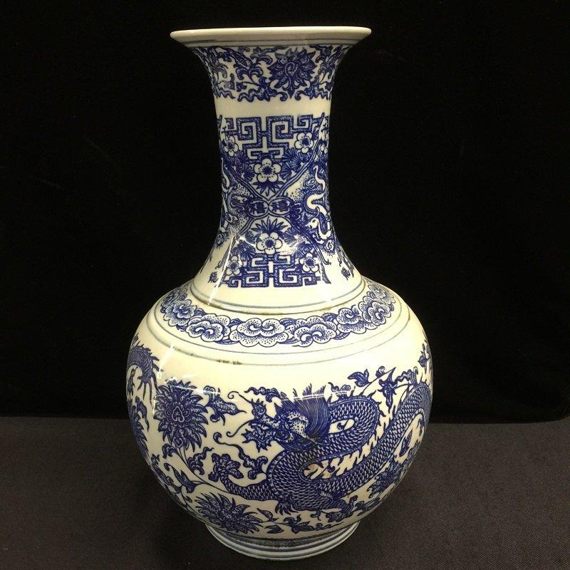 Antique Blue And White Porcelain Dragon Vase