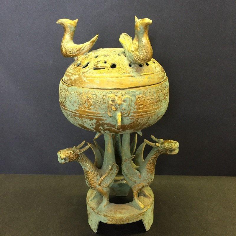 Finely Carved Antique Dragon Lidded Censer