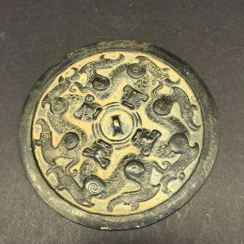 Antique Nicely Carved Bronze Mirror