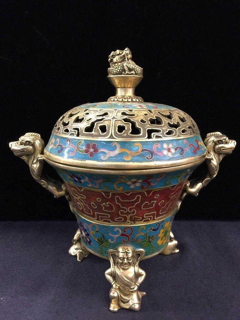A Ming Xuande Mark Cloisonné Lidded Censer