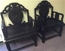 Antique Finely Carved Pair Of Zitan Dragon Chairs
