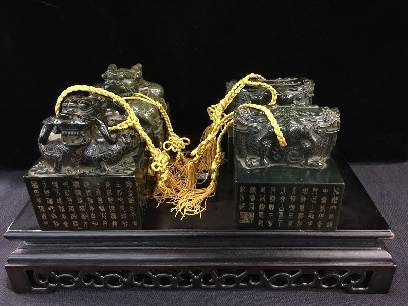 Qing Imperial Four Series Spinach Jade Seals