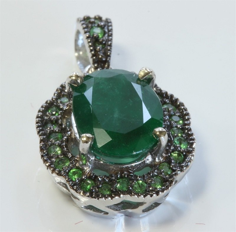14K White Gold 27 EATsavorite With Emerald Pendant