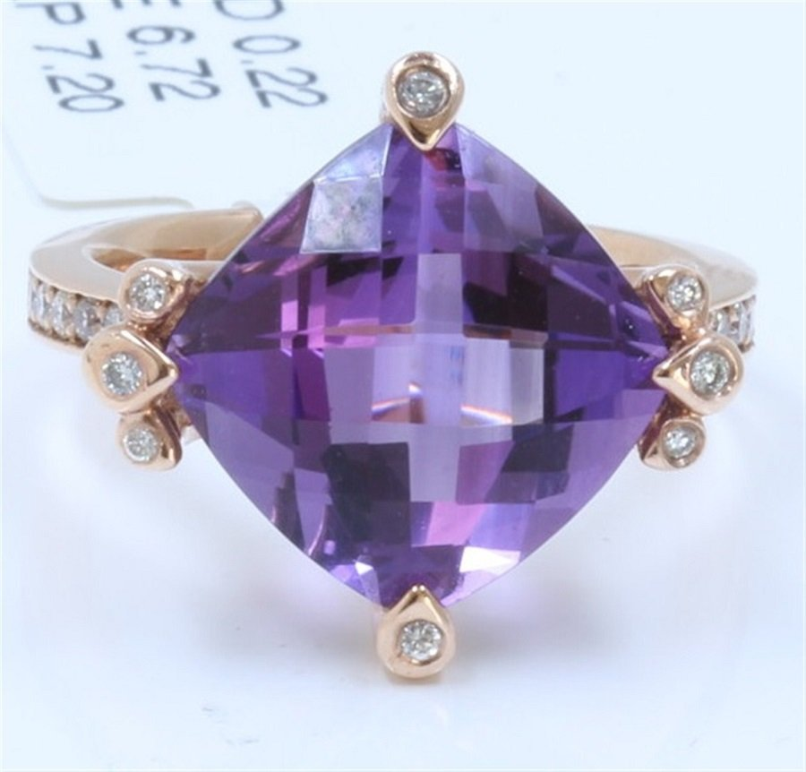 A Nicely 14K Rose Gold Ring Inlaid 6.72CT Amethyst
