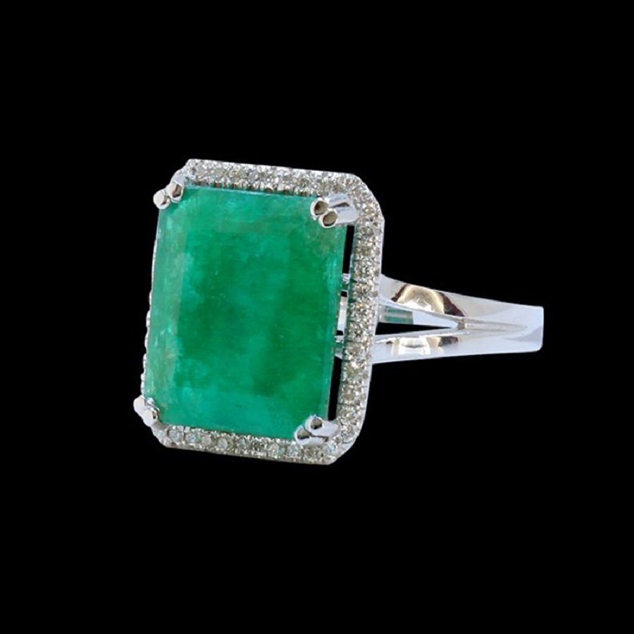 14K W/G Ring Inlaid 7.82CT Columbian Emerald