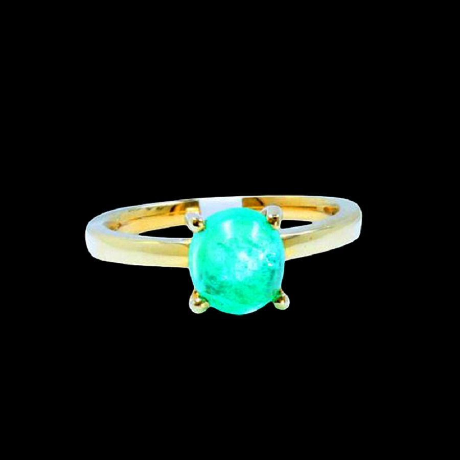 Fine 14KY/G Ring Inlaid 2.36CTS Columbian Emerald