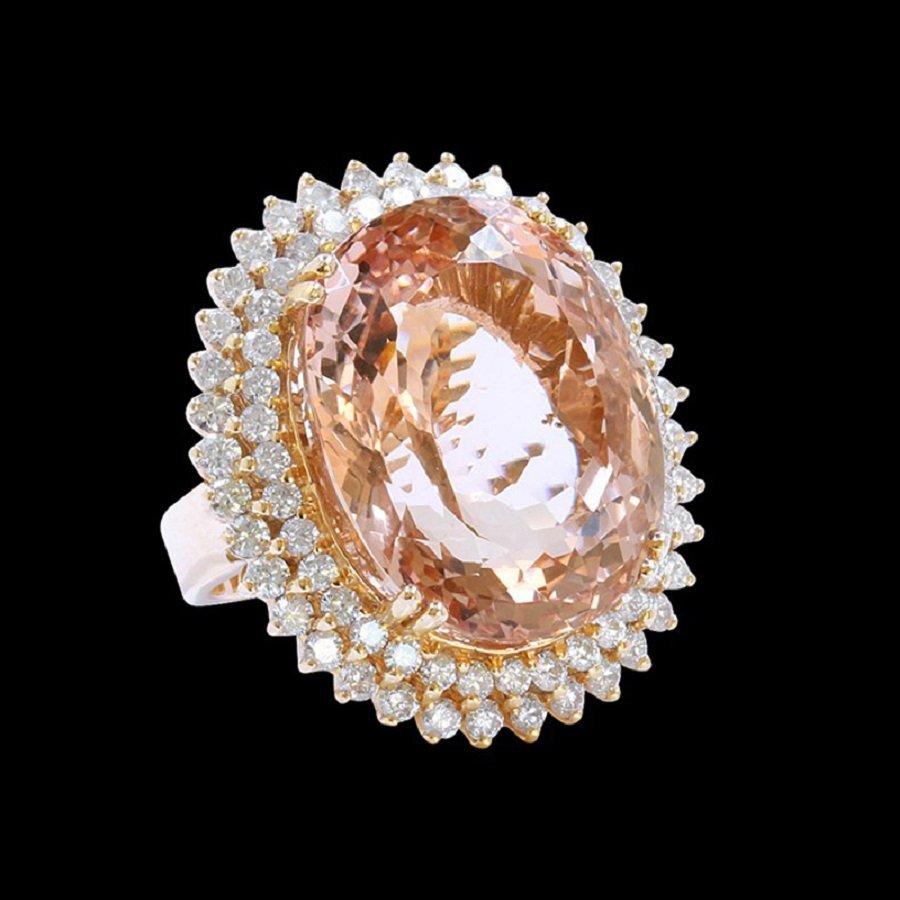 14K R/G Ring Inlaid 40.22CTS Morganite With Diamond