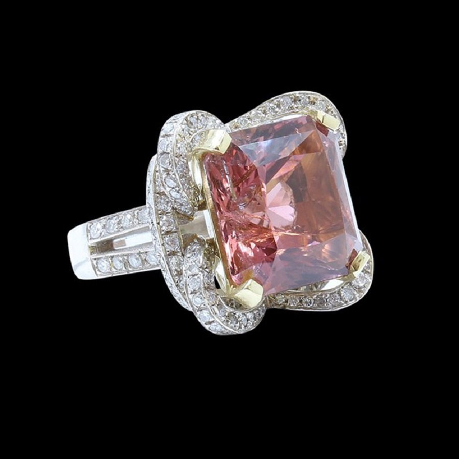 18K W/Y Gold Ring Inlaid 20.97CT Tourmaine & Diamond