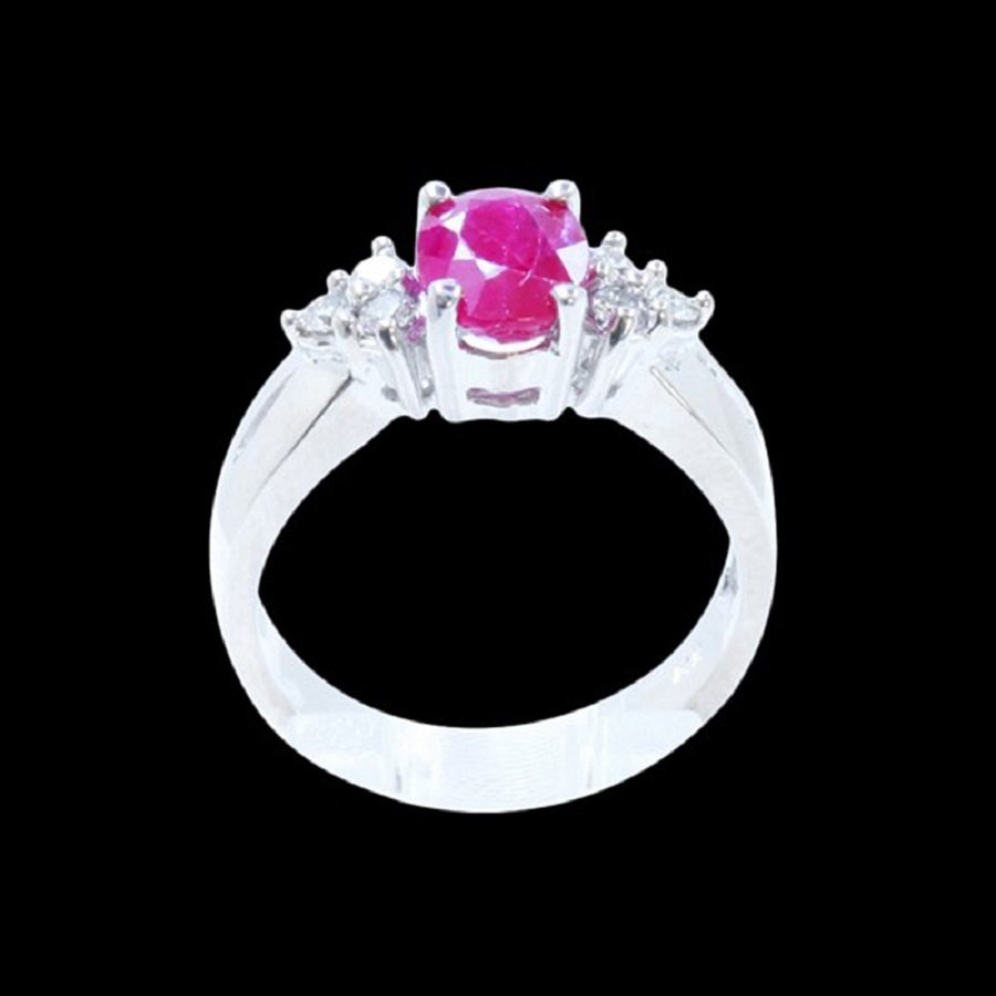14K White Gold Ring Inlaid Natural Ruby&Diamond
