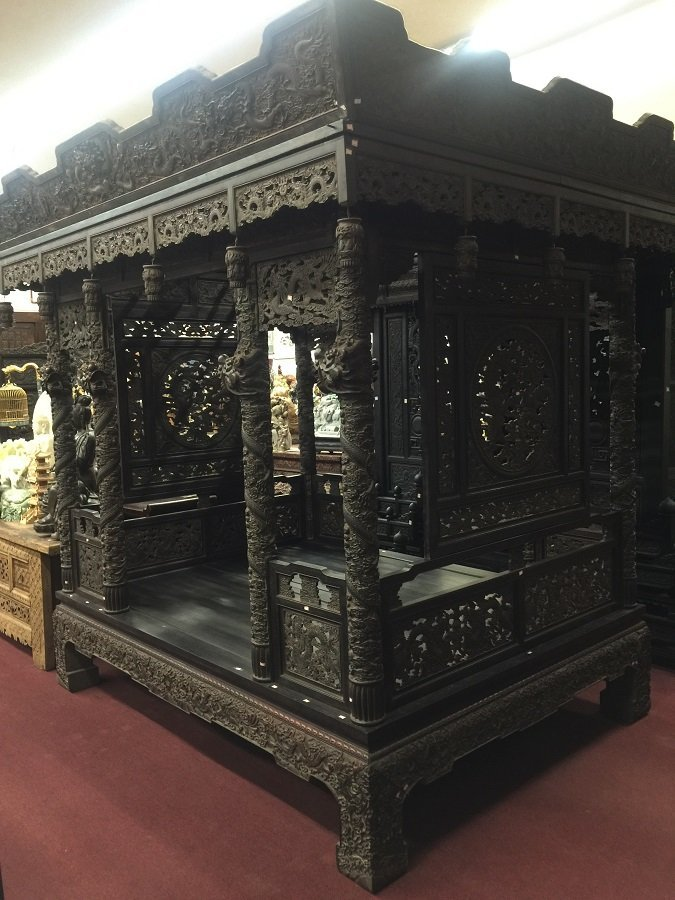 Antique Finely Carved Red Wooden Dragon House