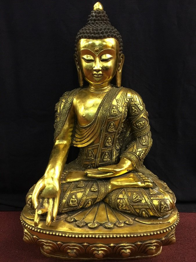 Antique Gilt Bronze Budddha Seated On Throne