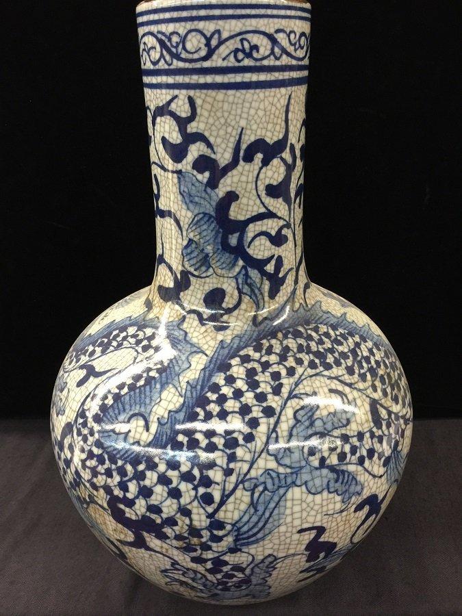 Antique Underglazed Blue & White Porcelain Dragon Vase