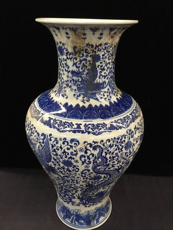 Antique Chinese Blue And White Porcelain Dragon Vase - 2