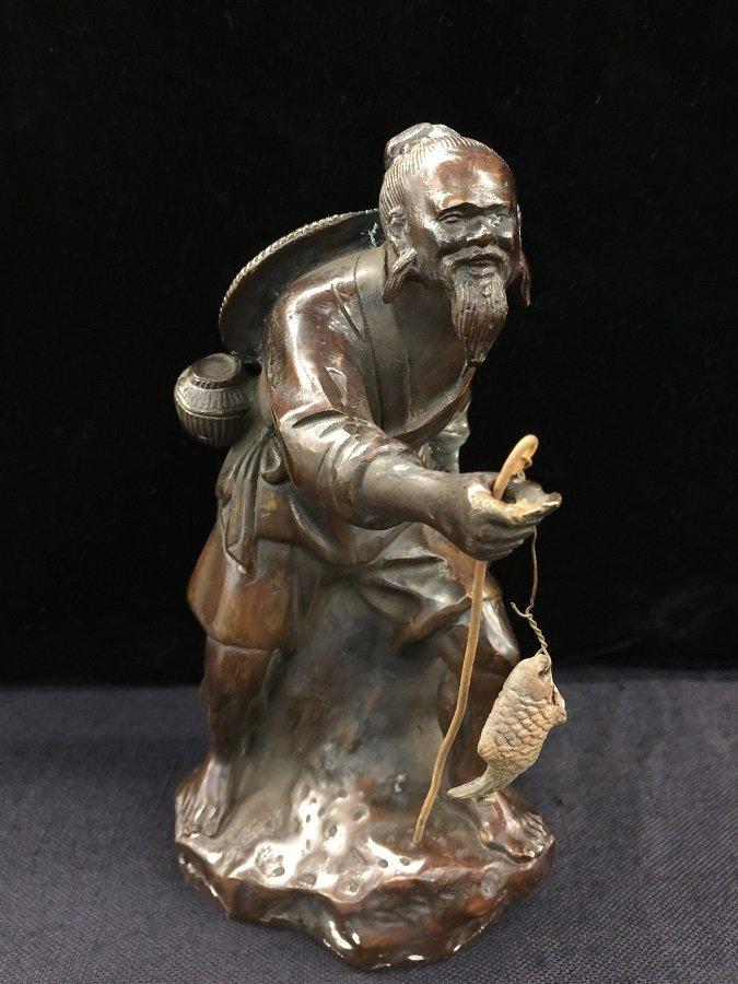 Antique Chinese Bronze Jiangtai Gong fishing