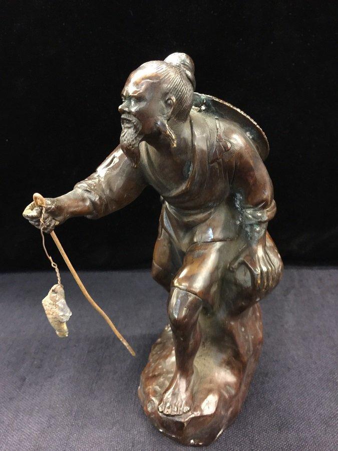 Antique Chinese Bronze Jiangtai Gong fishing - 2