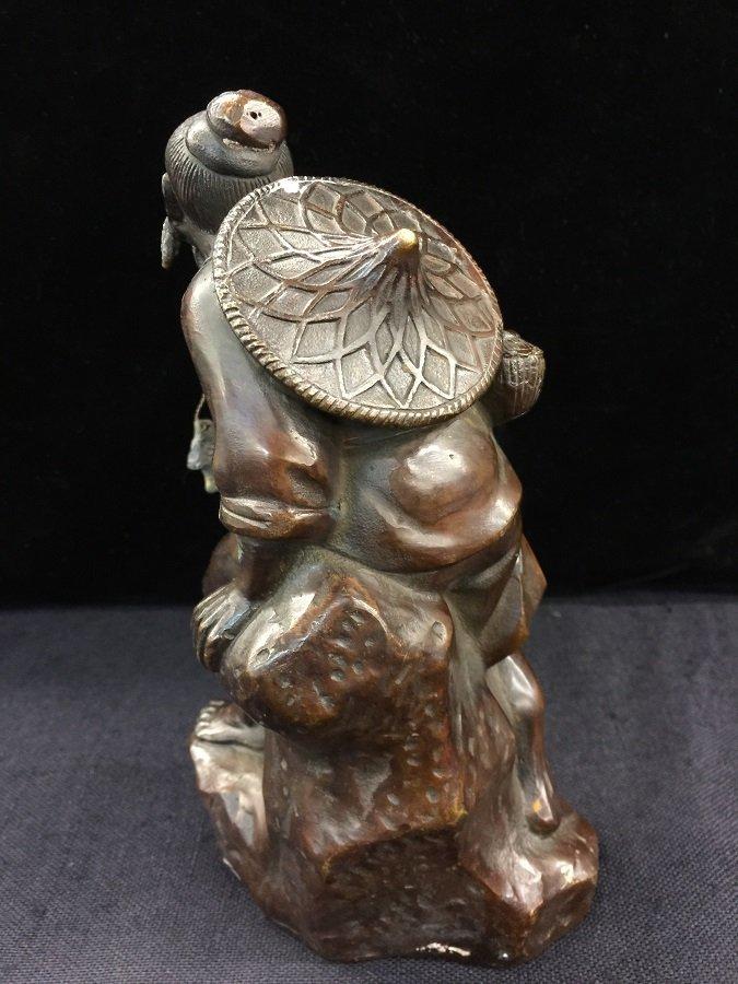 Antique Chinese Bronze Jiangtai Gong fishing - 3