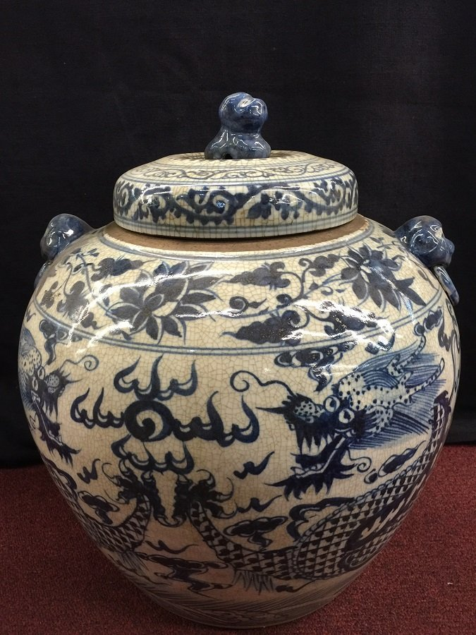 Large Yuan Blue&White Porcelain Dragon Lidded Jar