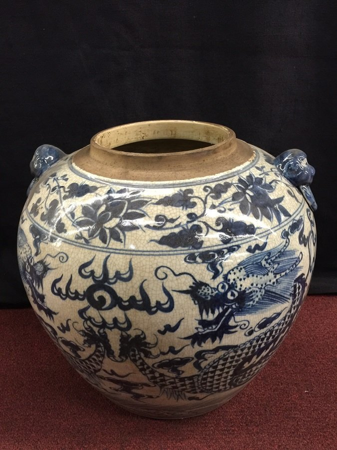 Large Yuan Blue&White Porcelain Dragon Lidded Jar - 4