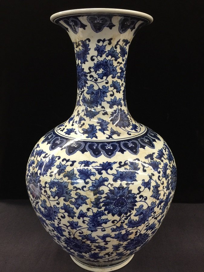 Qing Mark Blue And White Porcelain Vase