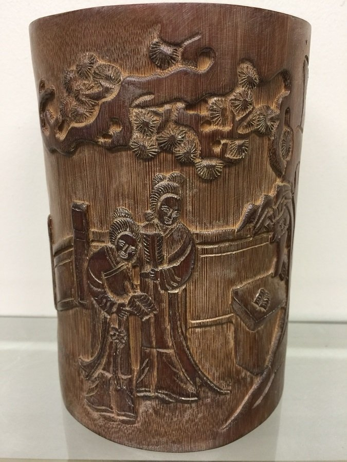 Antique Carved Bamboo Brush Pot