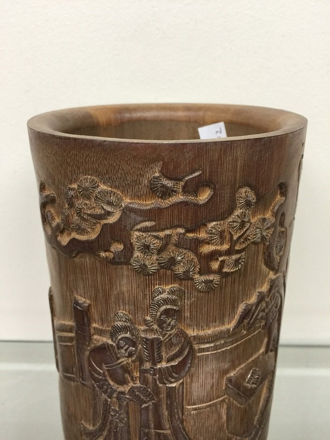 Antique Carved Bamboo Brush Pot - 2