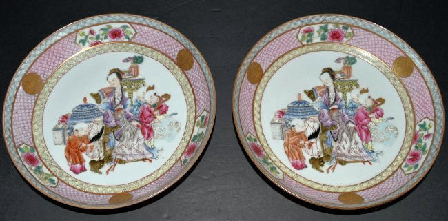 Pair of Chinese QianLong Figural Porcelain Plates