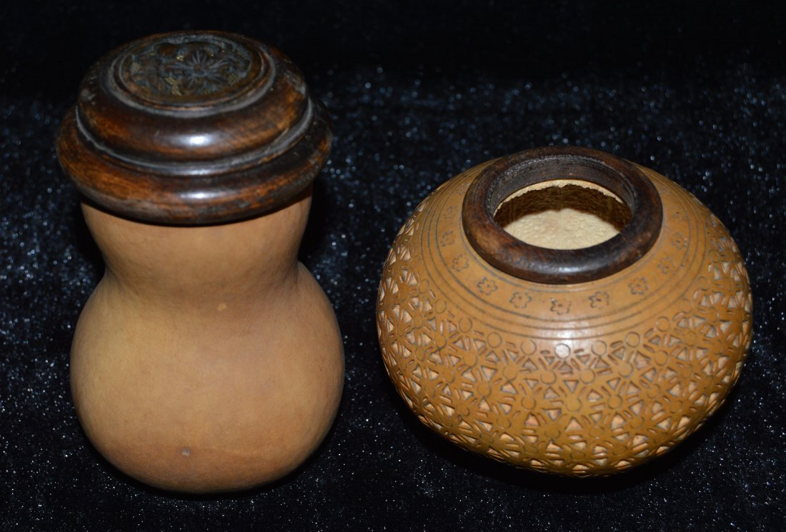 Chinese two pieces gourd cricket cages