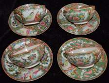 Four Chinese Rose Medallion Tea Cup and Saucers Sets