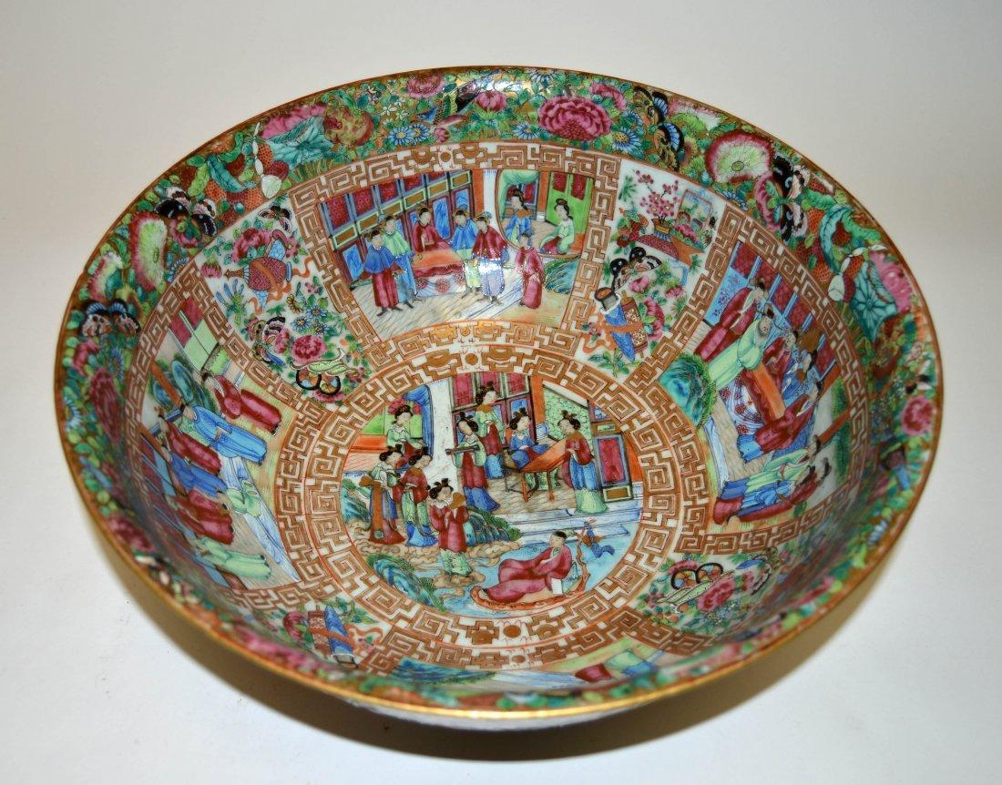 Large Canton Famille Rose Medallion Punch Bowl