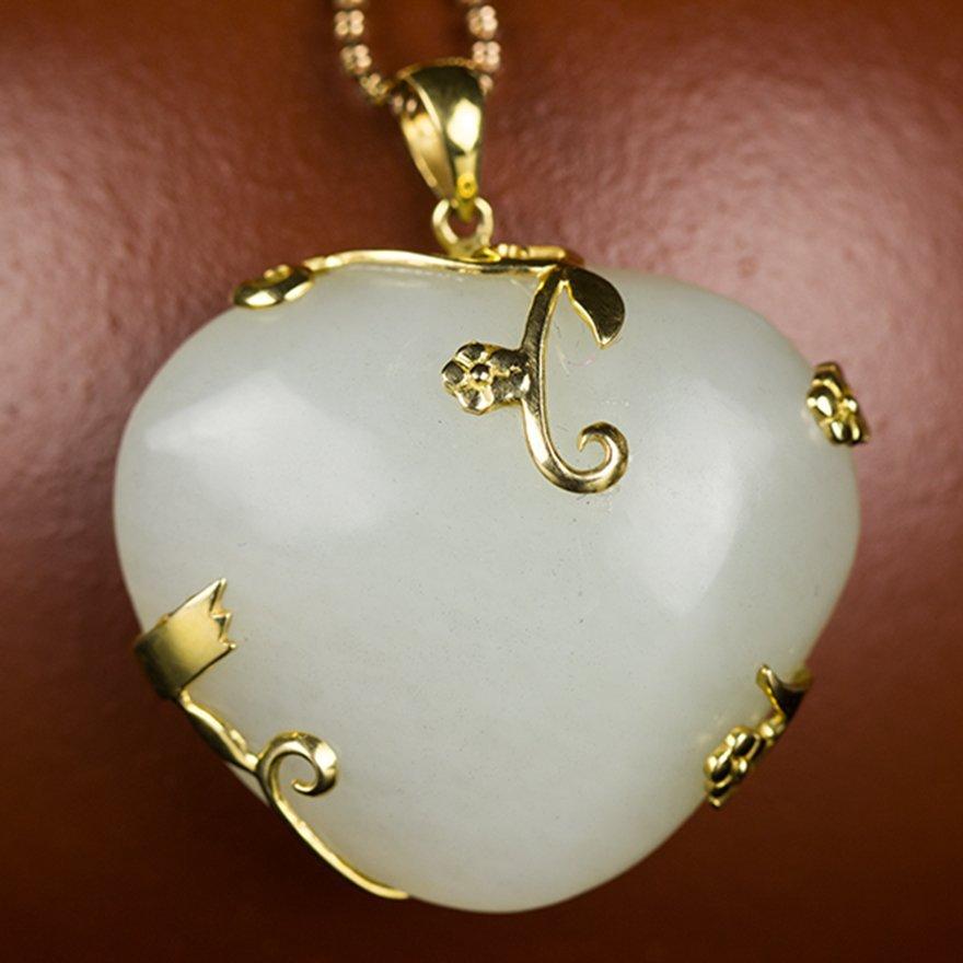 WHITE JADE PENDANT-HEART SHAPE