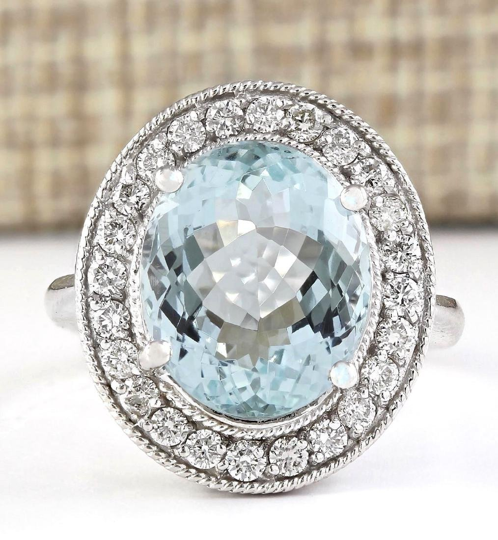 6.98 CTW Natural Aquamarine And Diamond Ring In 14k