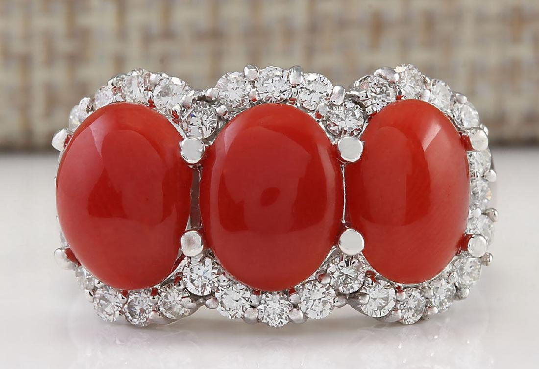 5.00 CTW Natural Coral And Diamond Ring In 14k White