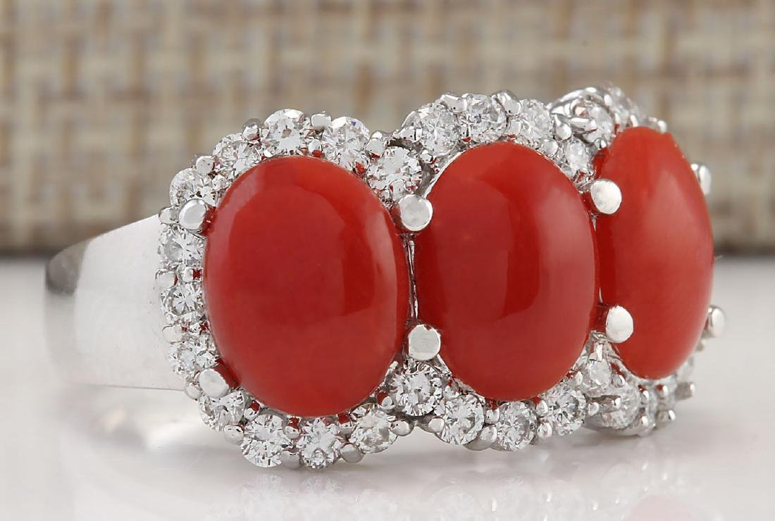5.00 CTW Natural Coral And Diamond Ring In 14k White - 2