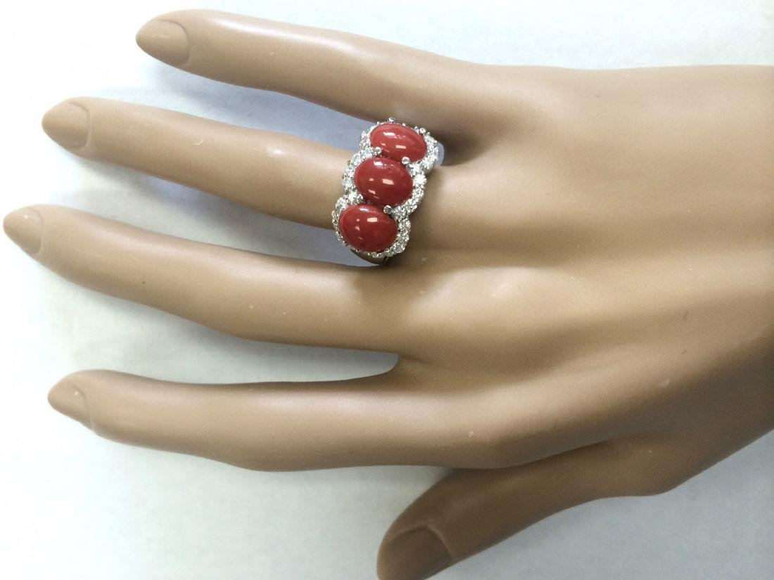 5.00 CTW Natural Coral And Diamond Ring In 14k White - 4