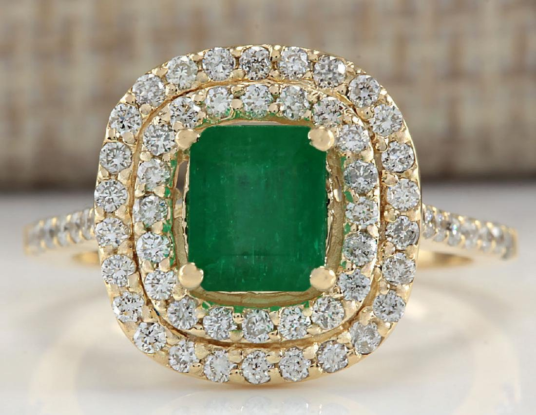 1.96CTW Natural Colombian Emerald And Diamond Ring In