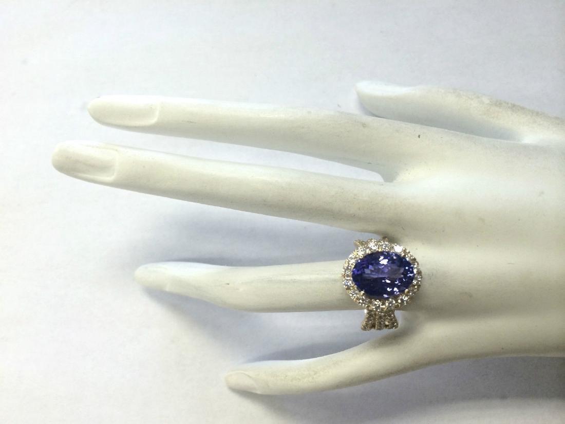 7.18CTW Natural Tanzanite And Diamond Ring 14K Solid - 4