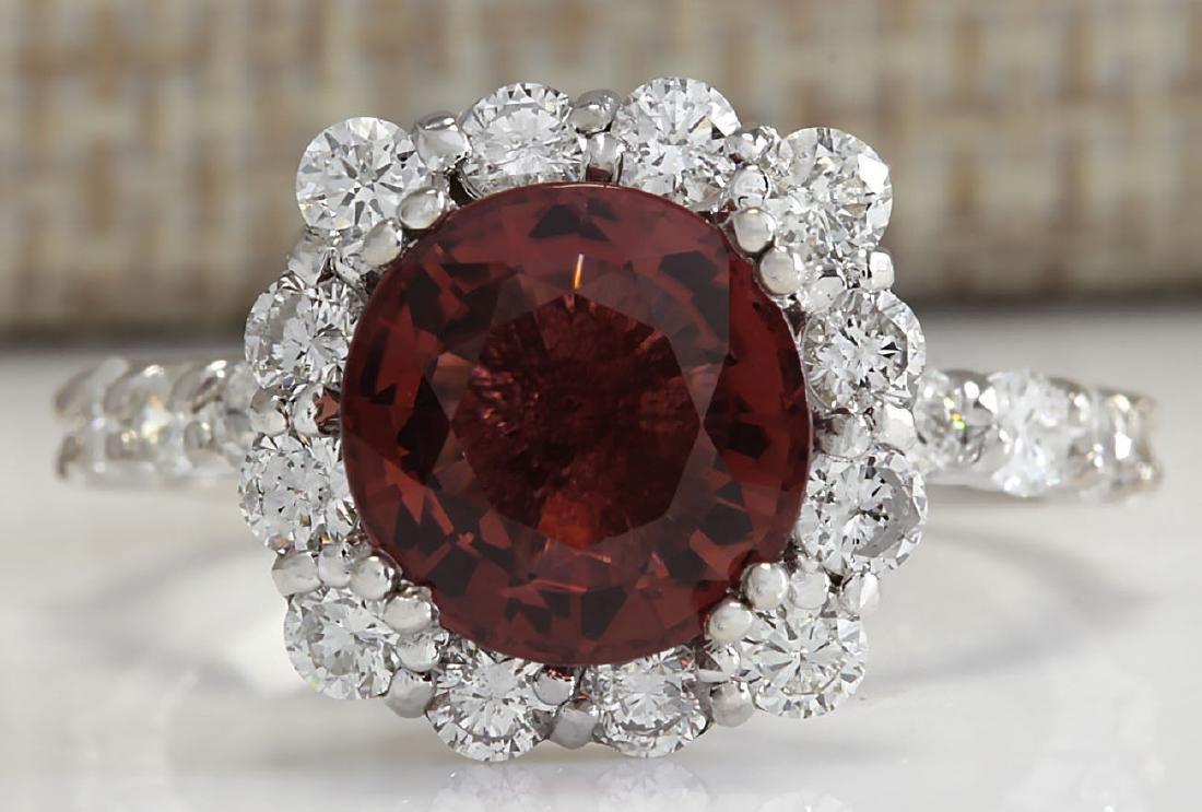 4.66CTW Natural Pink Tourmaline And Diamond Ring 14K