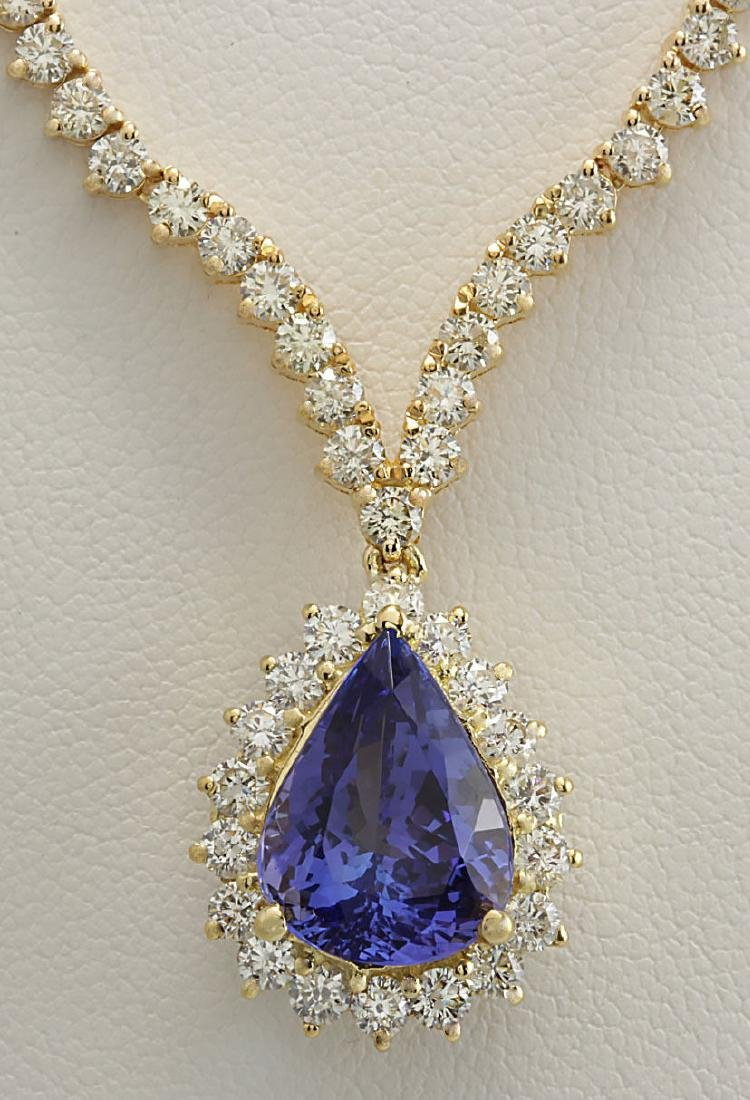 16.67 CTW Natural Tanzanite And Diamond Necklace In 14K